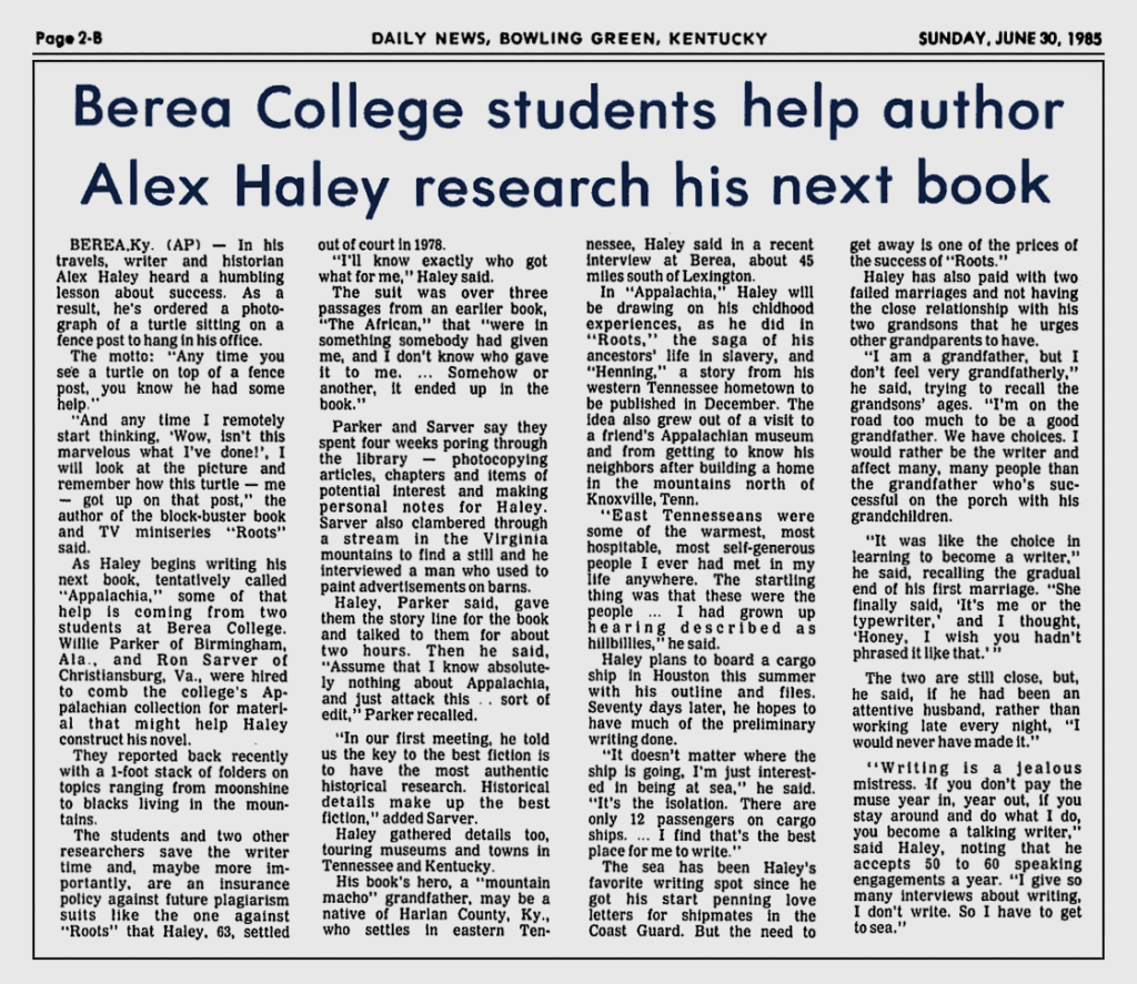 Berea College Students Help Author Alex Haley Research His Next Book